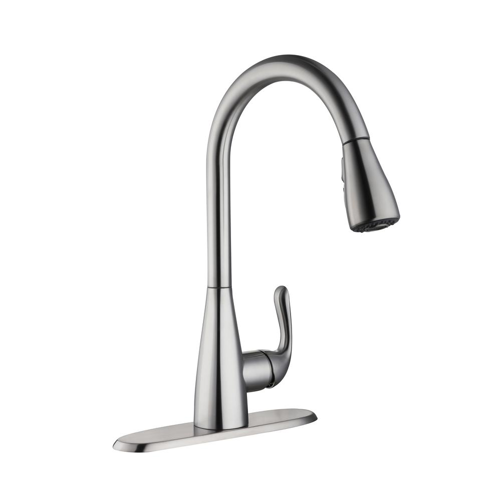 Carla Single Handle Pull Down Sprayer Kitchen Faucet In Stainless